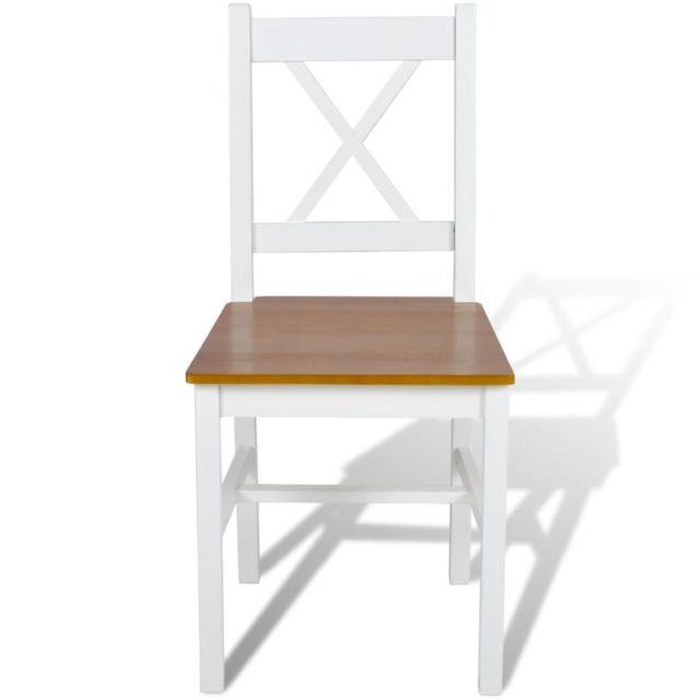 Icaverne Chaises de cuisine et de salle à manger serie Chaise de salle à manger 2 pcs Bois Blanc et couleur naturelle