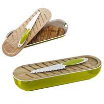 Touslescadeaux - Corbeille à Pain 3 en 1 - planche à pain bambou, couteau à pain - Vert