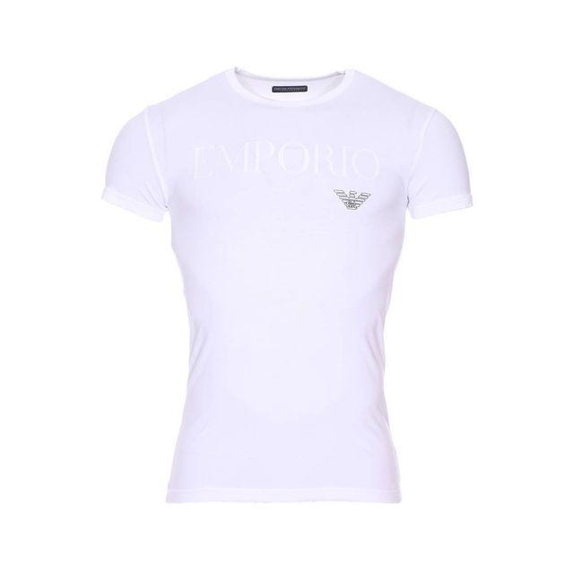 Armani Ea7 - Tee-shirt col rond Emporio Armani en coton stretch blanc floqué 29d98373143