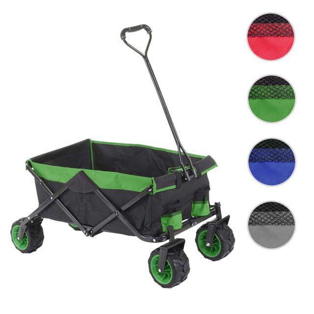 Mendler Chariot pliable Hwc-e62, charette à bras, pneus tout terrain ~ sans recouvrement noir/vert