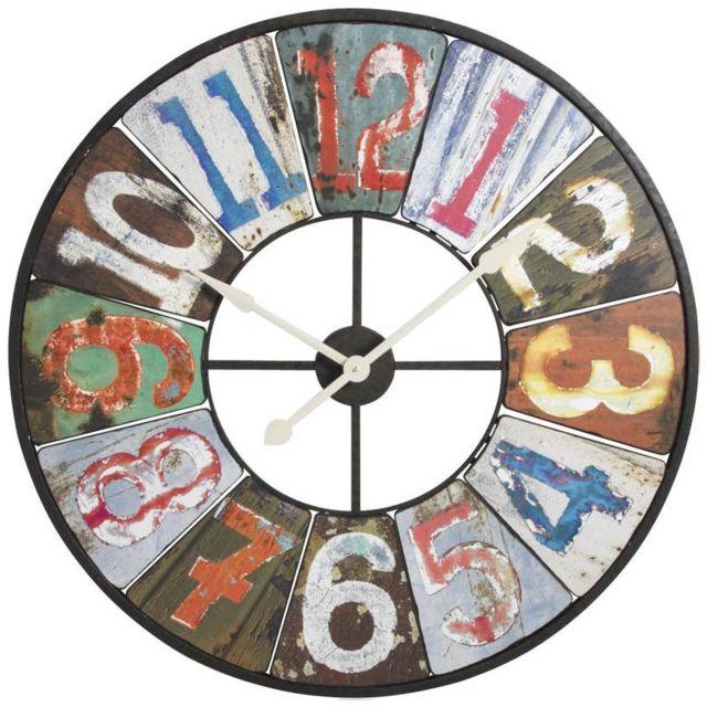 Stunning aubry gaspard horloge murale en mtal et bois rtro xcm with grosse horloge murale pas cher for Grosse horloge design
