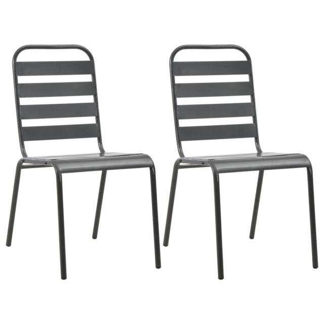 Vidaxl Chaise empilable à lattes 2 pcs Acier Gris foncé - Meubles de jardin - Sièges d'extérieur - Chaises d'extérieur   Gris  