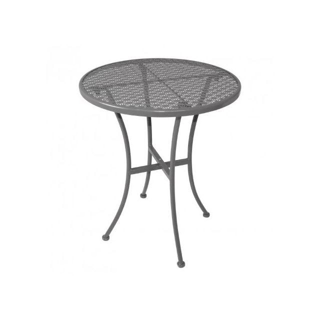 Materiel Chr Pro Table bistro ronde grise en acier ajouré 600 mm - Gris