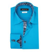 d6cfdb1704c2 Meadrine - Chemise Homme Slim fit Turquoise-foncé col 3 boutons et  doublures cachemire bleu