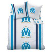 Marque Generique - Parure housse de couette droit au but coton blanc/bleu + taie d'oreiller Om - 240x220cmNC