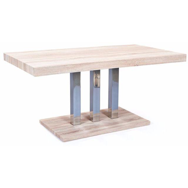 Comforium Table de salle à manger design rectangulaire 160 cm coloris sonoma