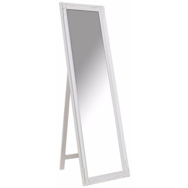 Comforium Grand miroir psyché en bois style classique 160 cm coloris blanc