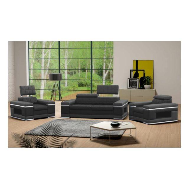 Justyou - Cosmo Ensemble meubles de salon cuir éco Gris - pas cher ...