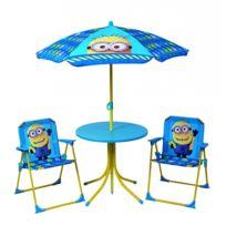 Universal - Salon de jardin enfant complet - Parasol, table et 2 fauteuils - Minions - Moi Moche et Méchant