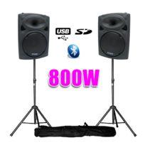 "Ibiza - Enceintes amplifiées 10"" 25cm 800W Usb/BT + pieds"