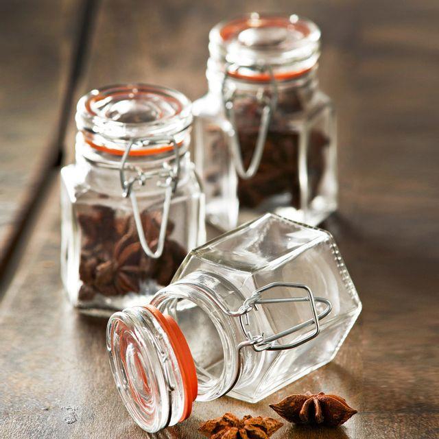 Kilner Lot de 12 bocaux à épices hexagonal en verre et métal avec joint 90ml Jars