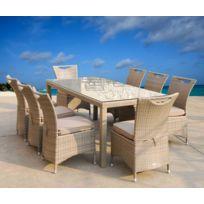 Salle à manger de jardin Table 200 x 90 cm + 8 chaises en résine tressée  coloris Taupe