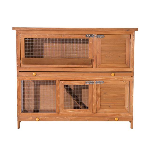 PAWHUT Cage a lapin poulailler clapier en bois de pin de grande taille avec 2 etages 120x48x100 cm