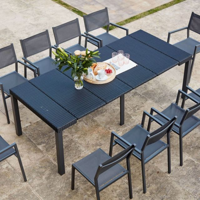 CONCEPT USINE Console résine avec 10 chaises et leurs housses de protection