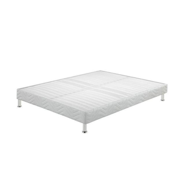 ebac sommier tapissier jeu de pieds 140x190 omega blanc 2x16 lattes 140cm x 190cm pas cher. Black Bedroom Furniture Sets. Home Design Ideas