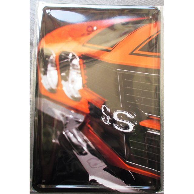 Universel Plaque chevrolet Ss super sport orange et moir affiche tole