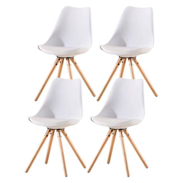Lot de 4 Blanc chaises de Salle /à Manger,Chaises de Cuisine en Bois R/étro Tulip Rembourr/ée Chaise de Salle de Bureau avec Pieds en Bois de H/être Massif