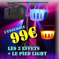 Ibiza Light - Pack Dj Led Light + 1 Gobo Flower + 2 Derby Led + 1 Pied Lumiere Pa Dj Power Light Jeux De Lumiere