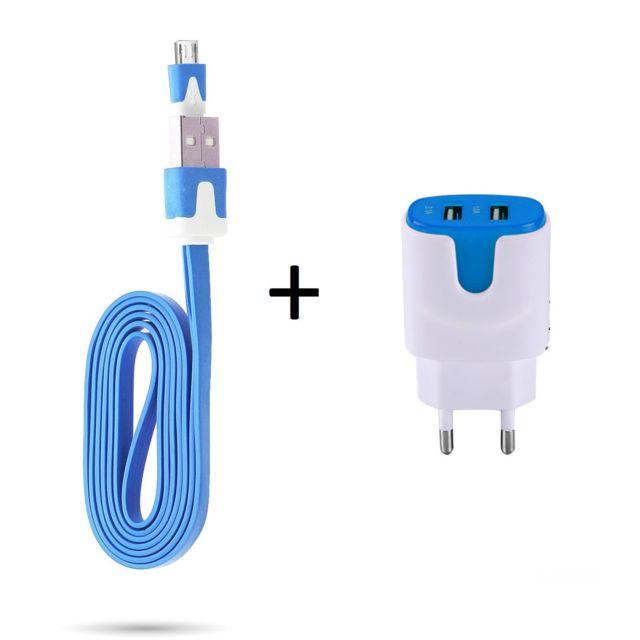 Pack Chargeur pour HUAWEI Ascend Mate 7 Smartphone Micro USB Cable Noodle 1m Chargeur + Double Prise Secteur Couleur USB, Andro BLEU