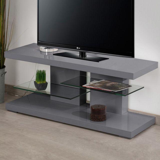 marque generique meuble tv bas en bois avec tablettes en verre l120cm scoop gris pas cher. Black Bedroom Furniture Sets. Home Design Ideas