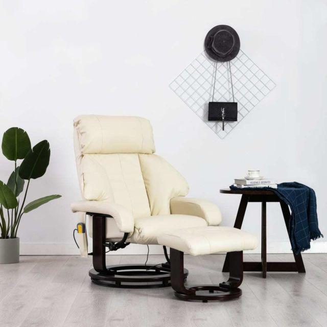 Vidaxl Fauteuil de Massage Tv Blanc Crème Similicuir Electrique Inclinable