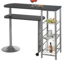 Idimex - Table haute de bar Josua Mdf décor noir