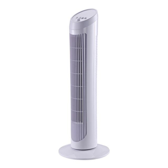 Ventilateur colonne tour oscillant silencieux 45 W 3 vitesses 27L x 27l x 75H cm blanc