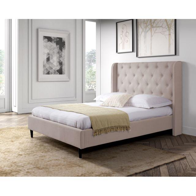g n rique lit 140x190 avec sommier tissu capitonn pas cher achat vente structures de. Black Bedroom Furniture Sets. Home Design Ideas