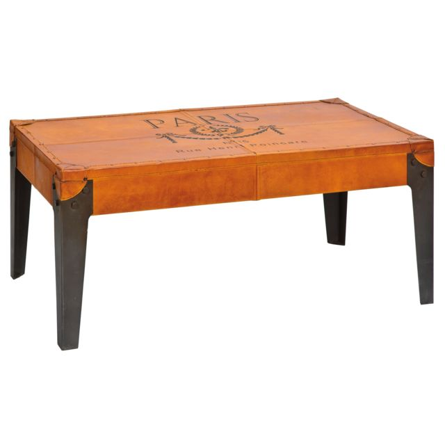 Comforium Table basse de fabrication artisanale 110x45 cm coloris orange