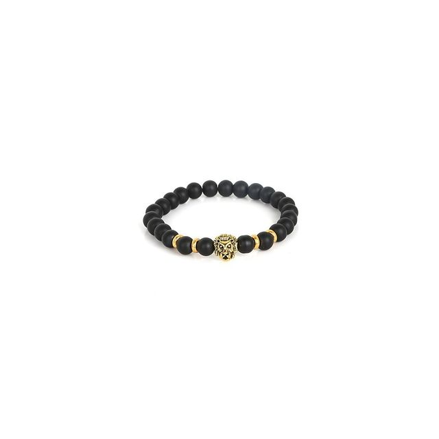 7a8f8bb8d9b38 Alpexe - Bracelet perle de rive en Verre tête de lion dorée. Matière   Acier