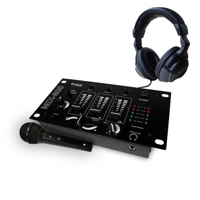 Ibiza Sound Pack table de mixage 3 voies 5 entrées + casque + micro noir