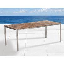 Beliani - Table de jardin acier inox - plateau teck 200 cm - Viareggio