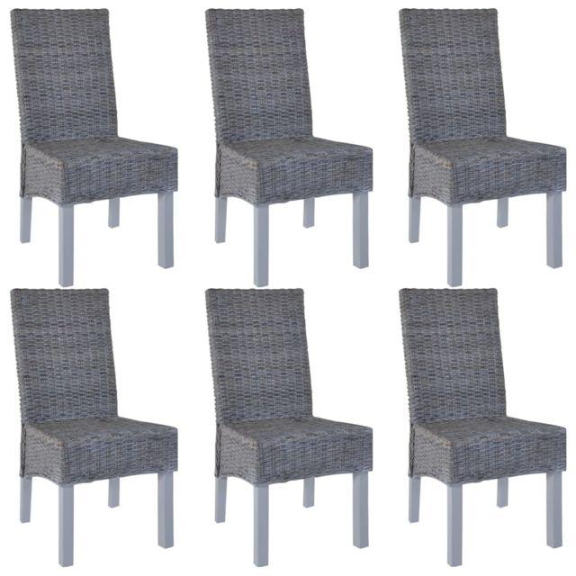 Chaise de salle à manger 6 pcs Rotin Kubu et Bois de manguier | Gris -  Meubles/Fauteuils/Chaises de cuisine et de salle à manger | Gris | Gris