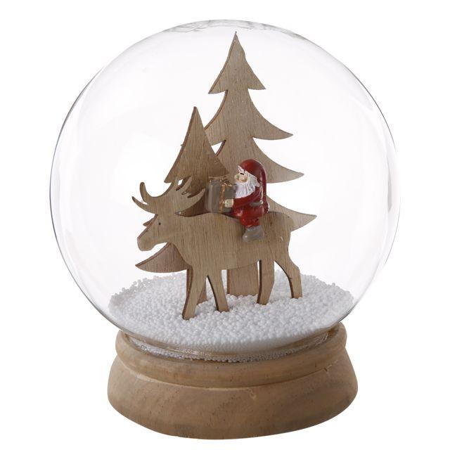 Boule à neige en bois et verre avec sapin renne et Père Noël 17cm