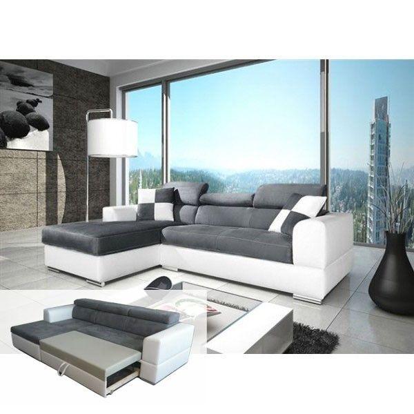 MEUBLESLINE Canapé d'angle convertible NETO design gris et blanc