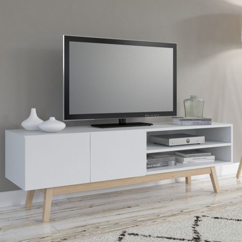 No Name Meuble Tv Home 160 cm 2 portes 1 niche / Blanc