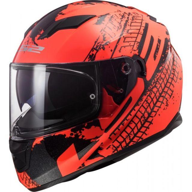 Ls2 Casque Moto Intégral Ff320 Stream Evo Lava Fluo Orange Noir