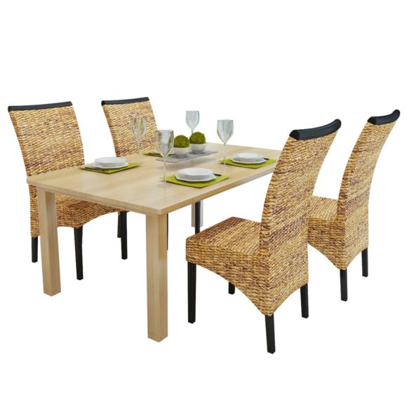 Rocambolesk superbe set de 4 chaises en abaca brun rotin - Set de cuisine en rotin ...