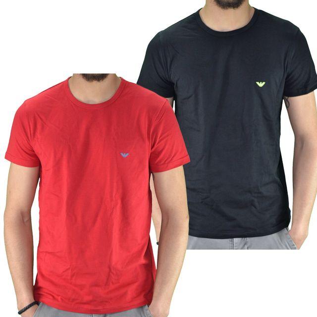 a37f250e53e9 Armani - Emporio - Tshirt Manches Courtes - Homme - Pack De 2 - 111267  6p712 - Rouge Noir XL - pas cher Achat   Vente Tee shirt homme -  RueDuCommerce