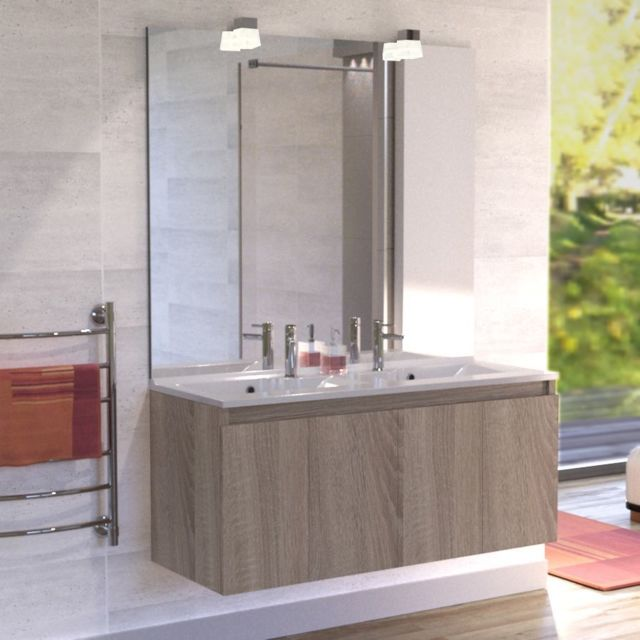 Creazur Meuble salle de bain double vasque Proline 120 - Cambrian oak