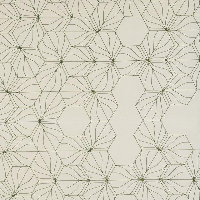 TEX HOME Plaid fantaisie Plaid en coton Matali CRASSET 150 x 200 cm - Crème imprimé vert