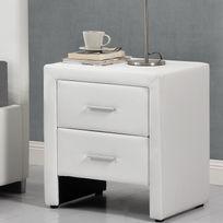 Rocambolesk - Hilton blanc : table de chevet en simili blanc avec 2 tiroirs