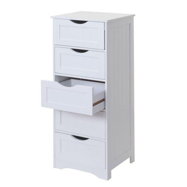 Mendler Commode Hwc-b65, 5 tiroirs, 100x40x35cm, blanc