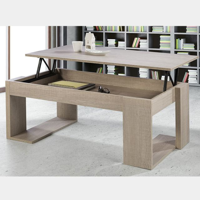 Nouvomeuble Table basse relevable couleur bois clair Monaco