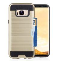 Wewoo - Coque renforcée Pour Samsung Galaxy S8 + / G9550 avec titulaire de la carte de crédit Tpu + Pc housses de téléphone portable Gold