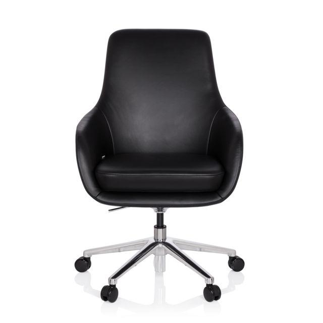 Hjh Office Chaise de bureau / fauteuil de direction Bareno cuir noir