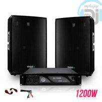 "Ibiza Sound - Pack sonorisation 2 Enceintes passives 12""/30cm 2x600W + Ampli 1000W + Câbles Disco1200"