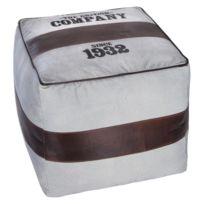 Pouf retro - 40 x 40 x 40 cm - Coton - Blanc