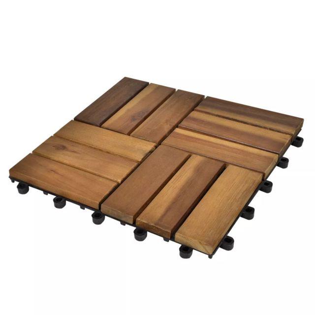 Vidaxl Kit tuiles de plancher en acacia 30 x 30 cm 20 pcs   Brun