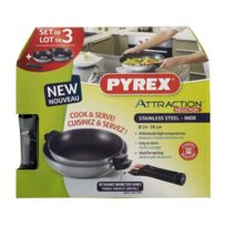 Pyrex - Lot 2 Poêles Attraction inox 24+28 Induction